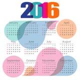 Abstract colorful calendar 2016. Vector. Bright calendar 2016 year. Vector design template stock illustration