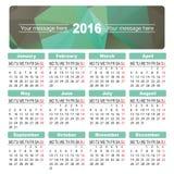Abstract colorful calendar 2016. Vector. Bright calendar 2016 year from poligons. Vector design template royalty free illustration