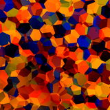 Abstract Colorful Chaotic Geometric Background. Generative Art Red Blue Orange Pattern. Color Palette Sample. Hexagonal Shapes. Stock Photos