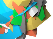 Abstract colorful  chaotic polygonal 3d fragments Royalty Free Stock Images