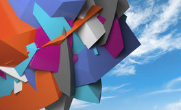 Abstract colorful chaotic polygonal fragments on blue sky. Background. 3d illustration vector illustration