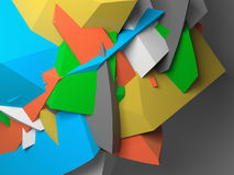 Abstract colorful  chaotic polygonal fragments on gray. Background. 3d illustration Stock Photos
