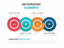 Abstract colorful circle arrow business timeline Infographics elements, presentation template flat design vector illustration. For web design marketing Royalty Free Stock Image
