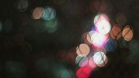 Abstract Colorful circle blurry light from street light for background stock video footage