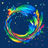 Abstract colorful circle frame on blue background. Abstract colorful rounded element on dark background Royalty Free Stock Photo