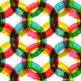Abstract colorful circle watercolor brush background, vector sea. Mless pattern Stock Image