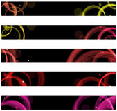 Abstract colorful circles web. Banners. Size 728x90 px Stock Image