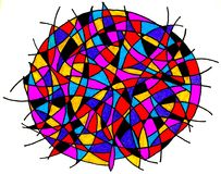Abstract colorful circular design. With black lines, white background Stock Photo