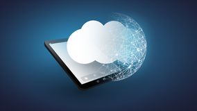 Cloud Computing Design Concept - Digital Network Connections, Technology Background with Globe and Tablet PC Royalty Free Stock Photos
