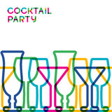 Abstract colorful cocktail glass seamless background. Concept fo Stock Photos