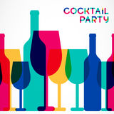 Abstract colorful cocktail glass and wine bottle seamless backgr Stock Photos