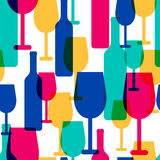 Abstract colorful cocktail glass and wine bottle seamless patter Royalty Free Stock Photo