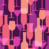 Abstract colorful cocktail glass and wine bottle seamless patter Stock Image