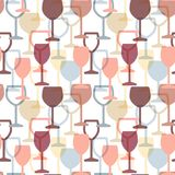 Abstract colorful cocktail and wine glass seamless pattern.   Royalty Free Stock Photos