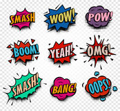 abstract colorful comics speech balloons icons collection on checkered background, dialog boxes with popular Royalty Free Stock Image