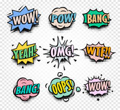 Abstract Colorful Comics Speech Balloons Icons Collection On Checkered Background, Dialog Boxes With Popular Stock Photo