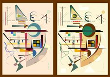 Abstract background, expressionism art style , set 2 color variants 18-57. Abstract colorful composition , fancy geometric and curved shapes beige , brown, green stock illustration