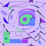 Abstract purple background , seamless pattern 18-09. Abstract colorful composition , fancy geometric and curved shapes, blue , green ,purple royalty free illustration