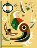 Abstract background, expressionism art style-18-93. Abstract colorful composition , fancy geometric and curved shapes ,green , beige, brown on light background royalty free illustration