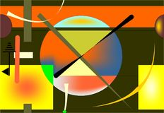 Seamless background, colorful geometric shapes on black 18-39. Abstract colorful composition , fancy geometric and curved shapes red , green ,yellow, blue stock illustration