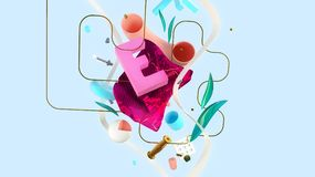 Abstract colorful composition. Letter E, conceptual composition with strange things and abstract shapes, valentine`s day unusual card, high resolution 3D render Royalty Free Stock Image