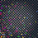 Abstract colorful confetti background.  on the transparent background. Vector holiday illustration Stock Photo