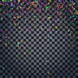 Abstract colorful confetti background.  on the transparent background. Vector holiday illustration Stock Photography