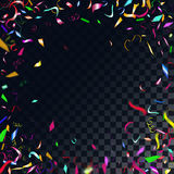 Abstract colorful confetti background.  on the transparent background. Vector holiday illustration Stock Images
