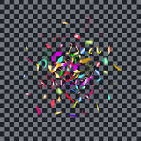 Abstract colorful confetti background.  on the transparent background. Vector holiday illustration Stock Image