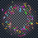 Abstract colorful confetti background.  on the transparent background. Vector holiday illustration Stock Photos