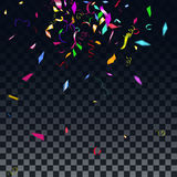 Abstract colorful confetti background.  on the transparent background. Vector holiday illustration Royalty Free Stock Images