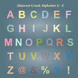 Abstract Colorful Crack Alphabet Capital letter A - Z, Uppercase Stock Images