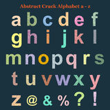 Abstract Colorful Crack Alphabet lowercase a - z royalty free stock photo