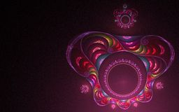 Abstract colorful crown. Fractal abstract multicolored round crown with middle and small crown on it with a pink glow on a black background vorug stock illustration
