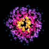 Abstract colorful cubes atmosphere spinning Royalty Free Stock Image