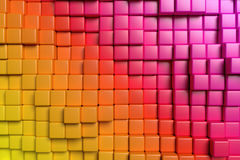 Abstract colorful cubes 3d background. Abstract conceptual design of the wall: abstract colorful graphic background made of colored cubes in front view 3d stock illustration
