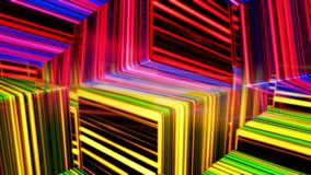 Abstract colorful cubes moving slowly, seamless loop. Animation. Black 3d cube figures with many narrow neon light lines