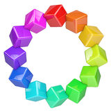 Abstract colorful cubes ring Stock Image