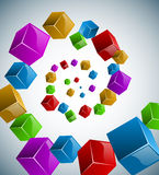 Abstract colorful cubes spiral Royalty Free Stock Image