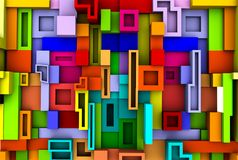 Abstract colorful cubic background 3D rendering.  Stock Photos