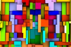 Abstract colorful cubic background 3D rendering.  Stock Photography