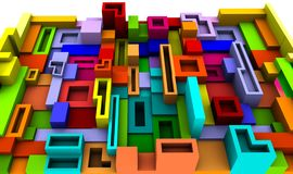 Abstract colorful cubic background 3D rendering.  Royalty Free Stock Image