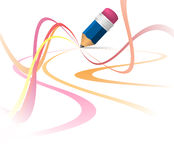 Abstract colorful curves. Made by pencil royalty free illustration