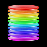 Abstract colorful cylinder. Abstract cylinder made of colorful transparent layers. Illustration on black background Royalty Free Stock Photography