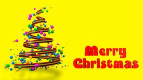 Abstract Colorful 3D Christmas Tree Banner. royalty free stock images
