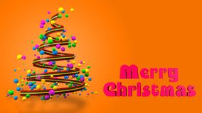 Abstract Colorful 3D Christmas Tree Banner. royalty free stock photos