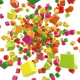 Abstract colorful 3D cubes explosion. Background. 3D rendering Royalty Free Stock Image