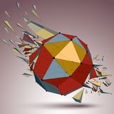 Abstract colorful 3d faceted figure with connected lines and dot. S. Vector low poly shattered design element with fragments and particles. Explosion effect Stock Photos