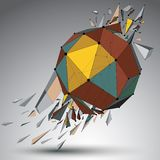 Abstract colorful 3d faceted figure with connected lines and dot. S. Vector low poly shattered design element with fragments and particles. Explosion effect Stock Images