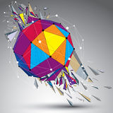 Abstract colorful 3d faceted figure with connected lines and dot Royalty Free Stock Photo